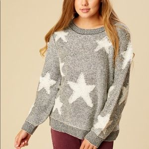 Altar'd State Grey & White Knit Star Sweater